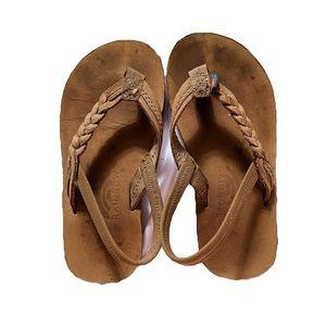 Girls Brown Braided Rainbow Sandals Size 9/10